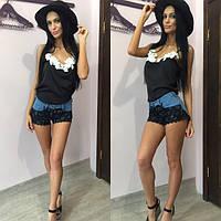 Шорты джинсовые с гипюром дм6181