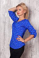 Женская рубашка синего цвета с рисунком сердечки, длинный рукав.