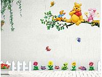 "Наклейка на стену, виниловые наклейки ""Винни-Пух и Пятачок сидят на дереве"""