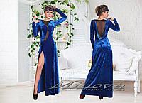 Бархатное вечернее платье  с сеткой