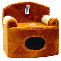 Дряпка для кошек Природа Диван - дом, бежевый/коричневый