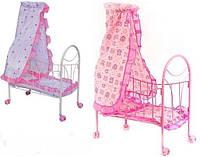 Кровать детская для кукол железная на колесиках c балдахином Melogo 9394