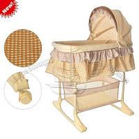 Кровать качалка детская с корзинкой на колесиках Bambi M 1542