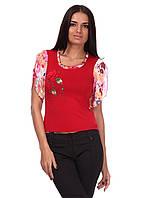 Модная легкая женская блуза красного цвета