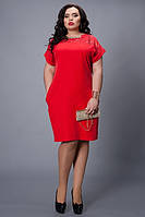 Платье красное с вставкой из гипюра большой размер