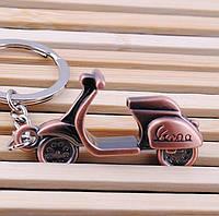 """Дизайнерский брелок, миниатюра - """"Мотороллер"""", медь антик"""