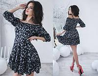 Короткое летнее платье цветочный рисунок