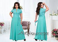 Женское длинное платье в горошек 50-58