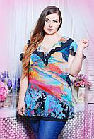 :Легкая красивая блуза с воланом из шифона с цветочным принтом большого размера 52-56