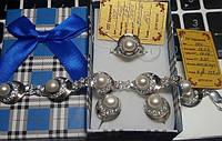 Комплект из серебра 925 пробы с жемчугом  ( Серьги + кольцо + браслет + подвес) с золотыми вставками 375 пробы