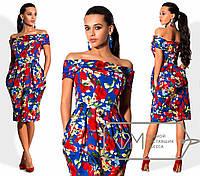 Нарядное платье-тюльпан с открытыми плечами 112 (545)