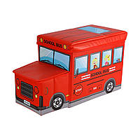 Пуф детский Корзина для игрушек Автобус красный