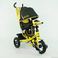 Детский трехколесный велосипед с надувными колесами и фарой желтый Best Trike 06588-В