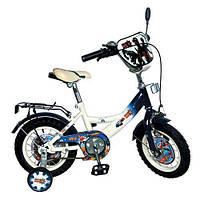 Детский двухколесный велосипед 14 дюймов Лунтик бело-голубой GR 0002