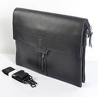 Мужская наплечная сумка из кожи (черная) - код 19-49