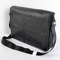 Мужская наплечная сумка из кожи от VIP POLAR (черная) - код 19-51
