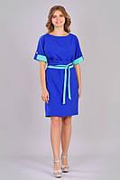 Женское стильное платье большых размеров цвета индиго