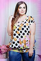 Легкая летняя блуза свободного кроя под резинку с дизайнерским вырезом на спинке большого размера 52-58
