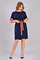 Женское стильное платье большых размеров синегоцвета