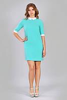 Женское летнее платье голубого цвета с белым воротником