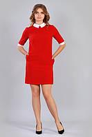 Женское летнее платье красного цвета с белым воротником