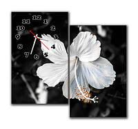 """Настенные модульные картина-часы """"Белый на чёрном"""""""