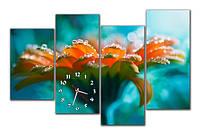 """Настенные модульные картина-часы """"Цветок в росе"""""""