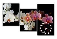 """Настенные модульные картина-часы """"Веточки орхидеи"""""""