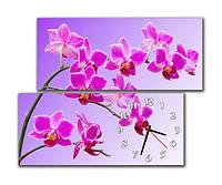 """Настенные модульные картина-часы """"Розовые орхидеи"""""""