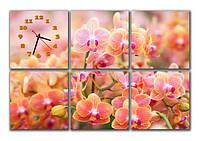 """Настенные модульные картина-часы """"Поле орхидей"""""""