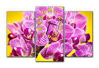 """Настенные модульные картина-часы """"Орхидеи"""""""