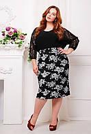 Классическая прямая юбка из гипюра с контрастым рисунком длиной ниже колена большого размера 56-58