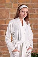 Халат женский MELISA с длинным рукавом белый