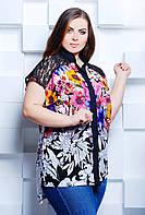 Рубашка с удлинненной спинкой и с гипюром большого размера 50-54 50