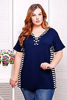 Классическая блуза в морском стиле, выполненная из тканей-компонентов со шнуровкой большого размера 54-62
