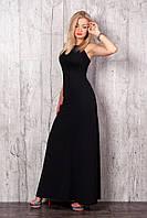 Женское летнее платье-макси черного цвета с открытой спиной.
