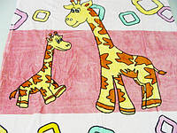 Плед из микрофибры Два жирафа (на розовом)