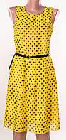 Новая коллекция!Молодежный женский шифоновый сарафан желтого цвета с поясом!