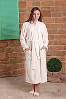 Бамбуковый махровый халат FLASHY с кружевом, кремовый