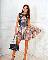 Летнее платье принт клетка-барбери, фото 1
