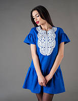 Платье женское отделка — перфорированная манишка из экокожи, фото 1