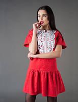 Платье женское батал отделка — перфорированная манишка из экокожи, фото 1