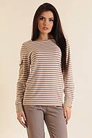 Женская блуза в полоску | капучино (р.42-52)