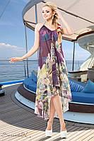 Женское шифоновое пляжное длинное платье с цветочным принтом