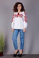 Белая женская вышиванка с красными розами