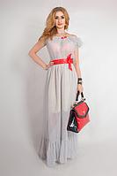 Летнее длинное платье из шифона. Платье белое в горошек