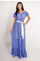 Летнее длинное платье из шифона. Платье синее  в горошек