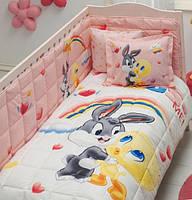 Постельное белье для кроватки с бортиком TAC LOONEY TUNES TWEETY AND BUGS BUNNY BABY