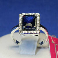 Женское серебряное кольцо с синим камнем крупного размера 1086