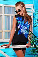 Женская нарядная футболка без рукав черного цвета перед из шифона